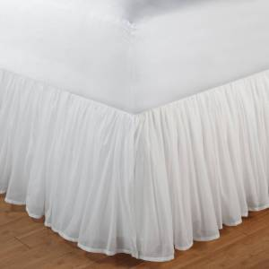 Greenland Home Fashions White Sheer 100-percent Cotton Voile Bedskirt (18 Inch - Full)