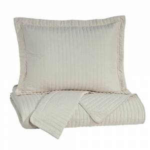 Overstock 3 Piece Fabric Queen Coverlet Set with Vertical Channel Stitching, Cream (Cream - Queen)
