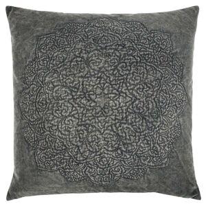 "Rizzy Home Dark Grey Medallion Decorative Pillow 22"" x 22"" (Down)"