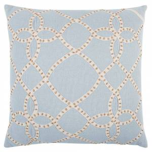 "Rizzy Home Aqua Gold Trellis Decorative Pillow 20"" x 20"" (Down)"