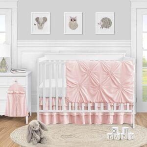 Sweet Jojo Designs Blush Pink Shabby Chic Harper Collection Girl 4-piece Bumperless Crib Bedding Set (Basic)
