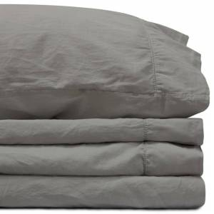 Jennifer Adams California King Storm Gray Sateen Sheet Set by Jennifer Adams (California King - Grey)
