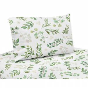 Sweet Jojo Designs Floral Leaf Collection 4-piece Queen Sheet Set - Green and White Boho Watercolor Botanical Woodland Tropical Garden (Green and White -