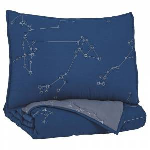 Overstock Constellation Theme Twin Size Fabric Comforter set with 1 Sham, Blue (Blue - Twin)