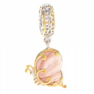 """Nathan Hennick and Company Gems en Vogue Palladium Silver Pink Mother-of-Pearl """"Butterfly in Flight"""" Charm (Two-Tone)"""