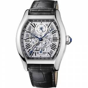 Cartier Men's W1580048 'Tortue' Black Leather Watch (Stainless Steel - Strap - Silver - Male - 30 Meters - Silver - Black - New - 9 Inch - Automatic