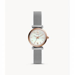 Fossil Women's Carlie Mini Three-Hand Stainless Steel Silver Watch (Silver)