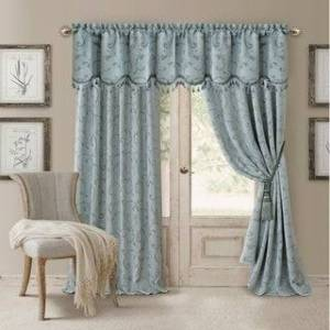 "Elrene Mia Jacquard Blackout Curtain Panel (52"" W X 84"" L - Blue)"