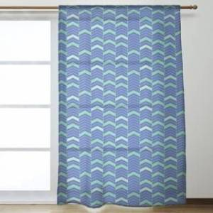ArtVerse Full Color Lined Chevrons Sheer Curtains - 53 x 84 - 53 x 84 (Blue & Green)