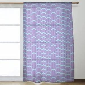 ArtVerse Full Color Lined Chevrons Sheer Curtains - 53 x 84 - 53 x 84 (Purple & Teal)
