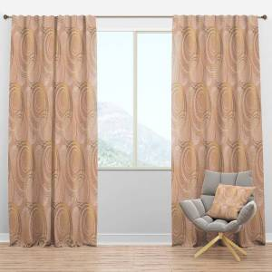 DESIGN ART Designart 'Rose Gold Abstract Geometry Luxury' Mid-Century Modern Curtain Panel (50 in. wide x 108 in. high - 1 Panel)