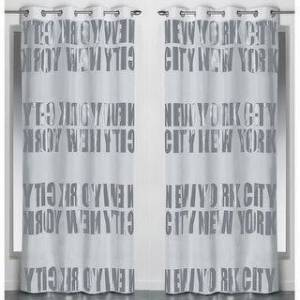 Evideco Set of 2 Blackouts Window Curtain Panel NEW YORK CITY with Grommets (Light Grey)