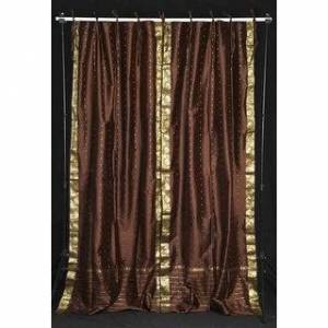 Indian Selections Brown  Tie Top  Sheer Sari Curtain / Drape / Panel  - Pair (Matching Lining 60 X 108 Inches (152 X 274 Cms))