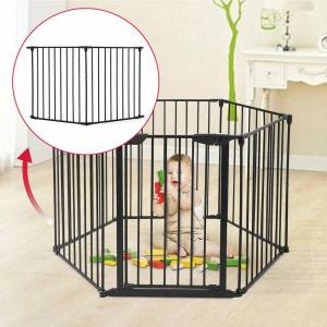 LivEditor 2 Panles of Baby Safety Gate Fence Walk Through Bay Security Door (Iron)
