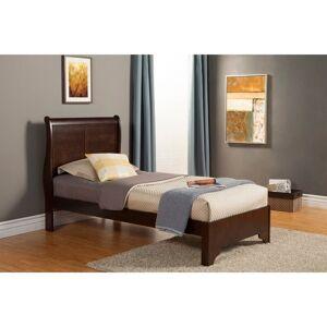 Benzara Twin Size Low Footboard Sleigh Bed In Rubberwood Brown