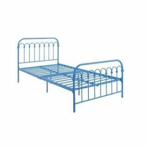 Novogratz Bright Pop Twin Metal Bed and Mattress (Turquoise - Twin)