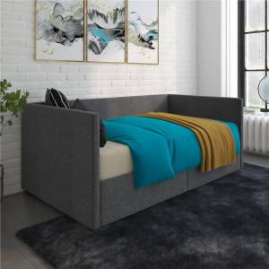 Avenue Greene Nolan Urban Upholstered Daybed with Storage (Velvet - Tan - Twin)