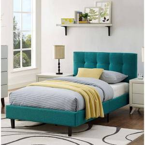 Copper Grove Silistra Twin-size Teal Fabric Platform Bed with Tufted Headboard