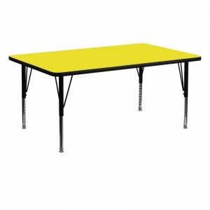 "Offex 30""W x 72""L Rectangular Activity Table with 1.25"" Thick High Pressure Laminate Top and Height Adjustable Pre-School Leg"