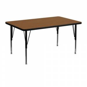 "Offex 30""W x 48""L Rectangular Oak High Pressure Laminate Activity Table with Height Adjustable Short Legs"