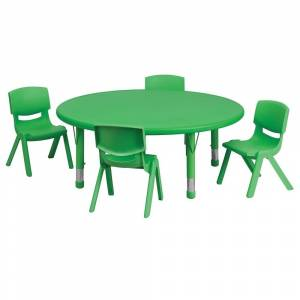Offex 45'' Round Adjustable Green Plastic Activity Table Set with 4 School Stack Chair