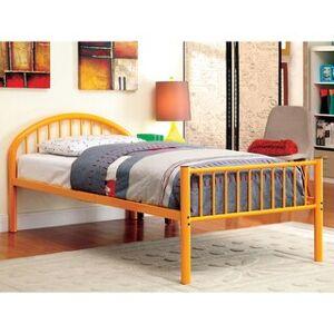 Furniture of America Hind Modern Full Metal Single Arch Kid Bed (Orange)