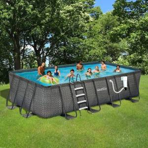 Waves Dark Wicker Summer Waves Elite Rectangular Metal Frame Pool (9-ft x 18-ft)