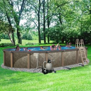Blue Wave Riviera 15-ft x 30-ft Oval 54-in Deep 8-in Top Rail Metal Wall Swimming Pool Package