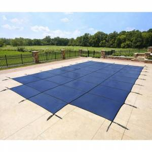 Blue Wave Rectangular Blue In-ground Pool Safety Cover with Center Step (16-ft x 32-ft Blue)
