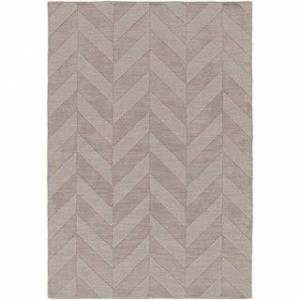 Overstock Hand-Woven Ann Tone-on-Tone Zig-zag Wool Rug - 9' x 12' (9' x 12' - Grey)