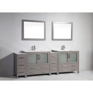 Vanity Art 96-Inch Double Sink Bathroom Vanity Set 10 Drawers, 4 Cabinets, 2 Shelves, Soft-Closing Doors with Free Mirror (Grey)
