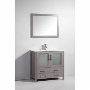 Vanity Art 36-Inch Single Sink Bathroom Vanity Set 2 Drawers, 1 Cabinets, 1 Shelf, Soft-Closing Doors with Free Mirror (Grey)