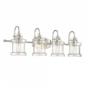 Porch & Den Capistrano Brushed Nickel/ Seeded Glass 4-light Bath Fixture (Extends: 7.25-inch)