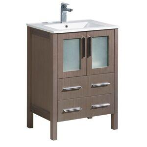 "Fresca Torino Grey Oak 24-inch Modern Bathroom Cabinet with Integrated Sink (Torino 24"" Gray Oak Cabinet w/ Integrated Sink)"