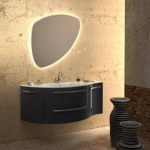 "LaToscana Ambra 52"" Vanity with Left Curved and Right Convace Side Cabinets (Grey)"