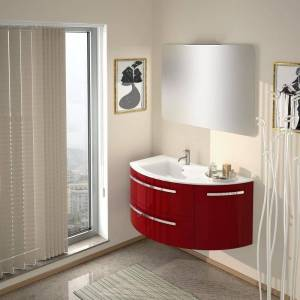 """LaToscana Ambra 38"""" Vanity with Right Curved Side Cabinet (Wood - Tan - Wood)"""