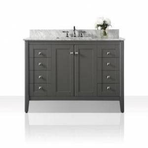 Ancerre Designs Shelton Vanity Set with Carrara White Marble Top (Grey - 48 Inch)