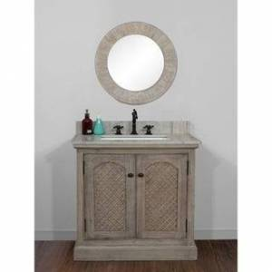 Infurniture Rustic Style 36 inch Single Sink Bathroom Vanity with Coastal Sand Marble Top-No Faucet (Driftwood-Arch-Door)