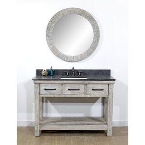 "Infurniture 48""Rustic Solid Fir Single Sink Bathroom Vanity in Grey with Natural Stone Top-No Faucet (Dark Limestone Top)"