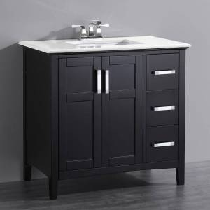 WYNDENHALL Salem 36 inch Contemporary Bath Vanity in Black with Bombay White Engineered Quartz Marble Extra Thick Top (35-37 in. - 1 Shelf - Over 34