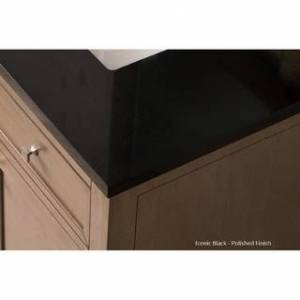 """James Martin Furniture Brookfield 48"""" Single Cabinet w/ Drawers, Cottage White (Rectangle - 3cm iconic black quartz top by Silestone)"""