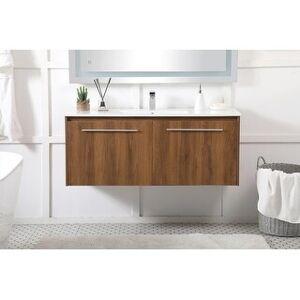 Overstock Wynn Floating Bathroom Vanity Set with Top (48 inch - Walnut Brown)