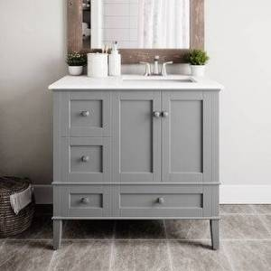 WYNDENHALL Windham 36 inch Contemporary Bath Vanity with White Engineered Quartz Marble Top (Smoke Grey)