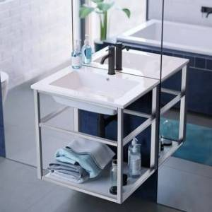 "Swiss Madison SM-BV552 Pierre 24"" Single, Metal Frame, Open Shelf, Bathroom Vanity (Chrome Finish)"