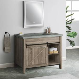 Saint Birch Cristopher Vanity Cabinet With 42-inch Cement Top (Brown - Wood Finish/Natural Finish)