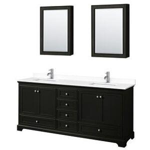Wyndham Collection Deborah 80 Inch Double Vanity, Cultured Marble Top, Medicine Cabinets (Dark Espresso, White Cultured Marble)