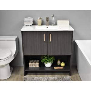 Volpa USA Cabo 30-inch Freestanding Bathroom Vanity in Black Ash Set (Black - Ash Finish - Single Vanities)