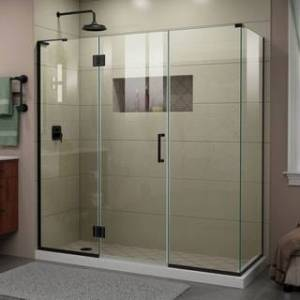 "DreamLine Unidoor-X 70 in. W x 30 3/8 in. D x 72 in. H Frameless Hinged Shower Enclosure - 30.38"" x 70"" - 30.38"" x 70"" (Satin Black Finish)"