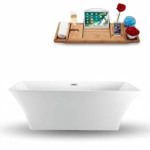 "Streamline 71"" Streamline N-1000-71FSWH-FM  Freestanding Tub and Tray With Internal Drain"
