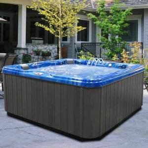American Spas 7-person 56-jet Lounger Spa with Bluetooth Stereo System (Blue)